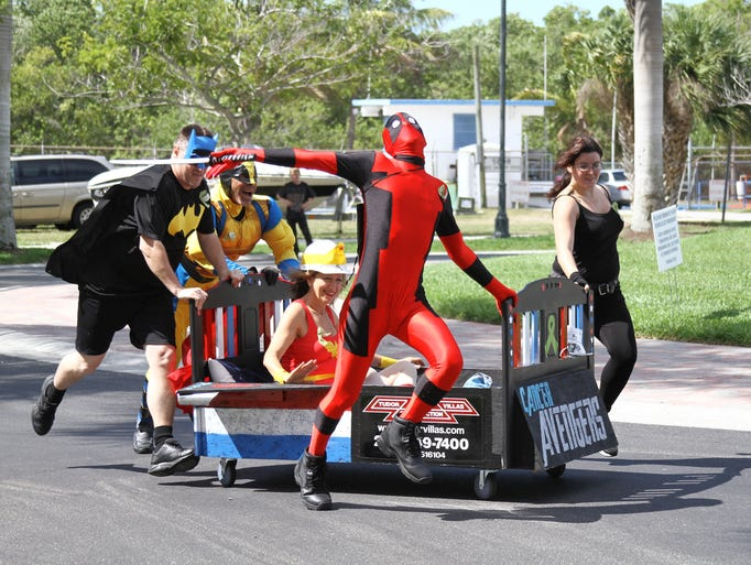 Team Cancer Avengers was one of eight teams which duked it out Saturday at Cape Harbor in Cape Coral in the inaugural Racing for Cancer Causes Bed Race.