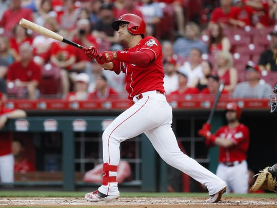 Cincinnati Reds' Jose Iglesias hits a grand slam off Pittsburgh Pirates starting pitcher Mitch Keller in the first inning during the second game of a doubleheader Monday.