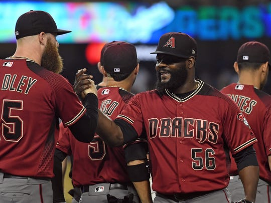 Archie Bradley (left) and Fernando Rodney are the only two relievers in the Diamondbacks' bullpen with set roles.