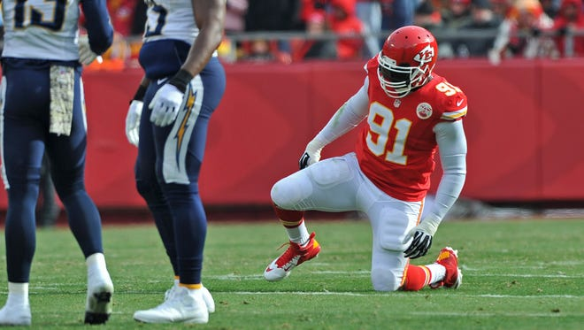 Chiefs OLB Tamba Hali left Sunday's game before halftime after spraining his ankle.