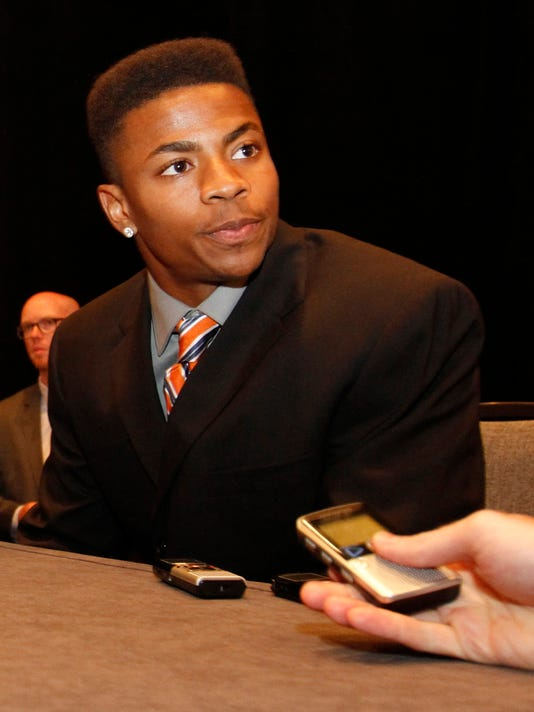 FILE - In this July 14, 2014 file photo, Florida cornerback Vernon Hargreaves III speaks to the media at SEC media days in Hoover, Ala. The Southeastern Conference could generally be relied upon for a certain predictability. It's all given coaches and players across the league a chance to wonder going into this season, Why not us?(AP Photo/Butch Dill, File)