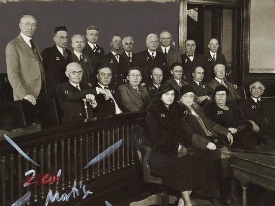 A group seeking to create a city manager administration in Elmira gather for a photo in 1932. Members are, from left, 1, Dr. S.M. Seafuse; 2, Fred A. Mulcahy; 3, Thomas A. Malone; 4, Leslie D. Clute; 5, Grant P. King; 6, Benjamin F. Levy; 7, Dr. Henry A. Moore; 8, J. John Hassett; 9, Homer E. Brotzman; 10, the Rev. A. G. Cornwell; 11, Dan Quinlan; 12, Ralph E. Nichols; 13, Abe Hample; 14, Howard H. Kimball; 15, Henry T. French; 16, Harry J. Lagonegro; 17, Lewis Henry; 18, Mrs. Harry Tipton; 19, Mrs. George Pickering; 20, Mrs. C.J. Witherstine; 21, Ransome T. Lewis. Not pictured are county judge Bertram L. Newman, William J. Ging, Floyd A. Atwater and Dr. Joseph S. Lewis.