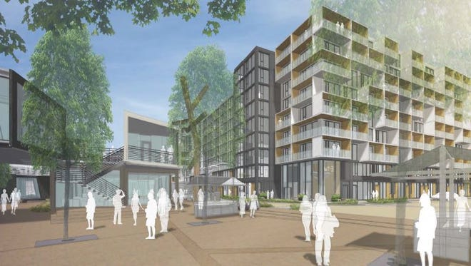 A view of the Outpost Nashville project planned for a corner of Chestnut and Fourth.
