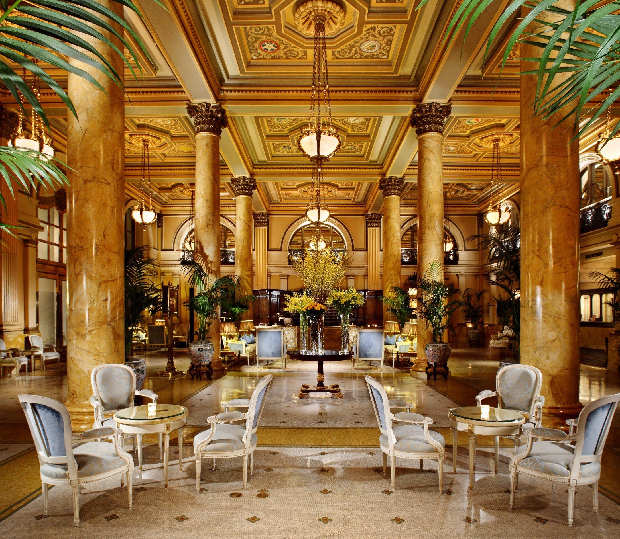 The lobby of the Willard Hotel in Washington, D.C., has a rich, spacious feel.
