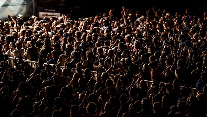 The crowd listening to Steve Miller Band play during the second day of Bohemian Nights at NewWestFest, Saturday, Aug. 15, 2015, in Fort Collins, CO. The free three-day music festival features over 70 Colorado bands.