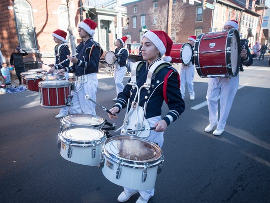 The Lebanon Catholic band donned Santa hats and entertained parade goers along the route.
