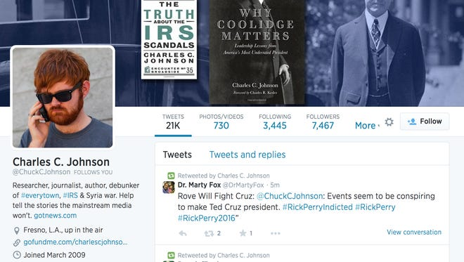 Screen shot shows Charles C. Johnson's Twitter page.