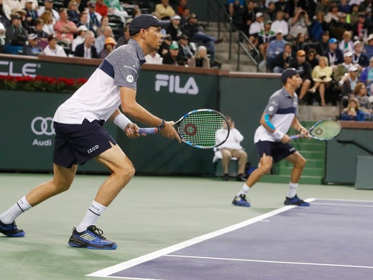 Mike and Bob Bryan, shown here at the BNP Paribas Open in 2018.