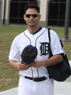 Tigers pitcher Anibal Sanchez walks to the practice fields on the first day of spring training on Feb. 14 at the remodeled Publix Field at Joker Marchant Stadium in Lakeland, Fla.