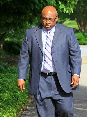 KEN RUINARD/INDEPENDENT MAIL Erick Bradshaw Sr., former executive director and of Fresh Start Community Development Corp., arrives at the Federal Courthouse in Greenville. Bradshaw is charged in a three-count indictment.