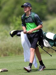 Adam Sauceda/Standard-Times Wall's Coleman Coon makes his way to the next hole during the UIL Class 3A state golf tournament on Thursday.