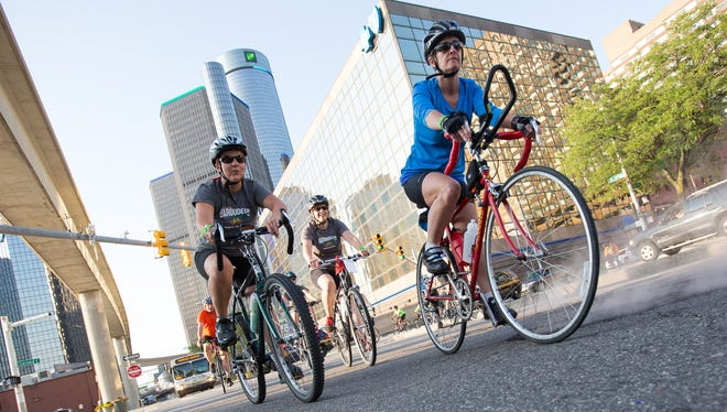 Riders roll near downtown Detroit in 2015's Baroudeur, a series of cycling events returning Saturday, Aug. 20, 2016, as a fundraiser that starts and ends at the Wayne State University campus.