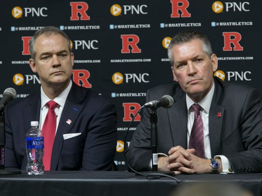 Rutgers basketball coach Steve Pikiell (left) and athletic director Pat Hobbs at a press conference introducing Pikiell in 2016