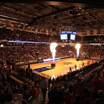 Fireworks before a basketball game at Bank of Kentucky Center last March.