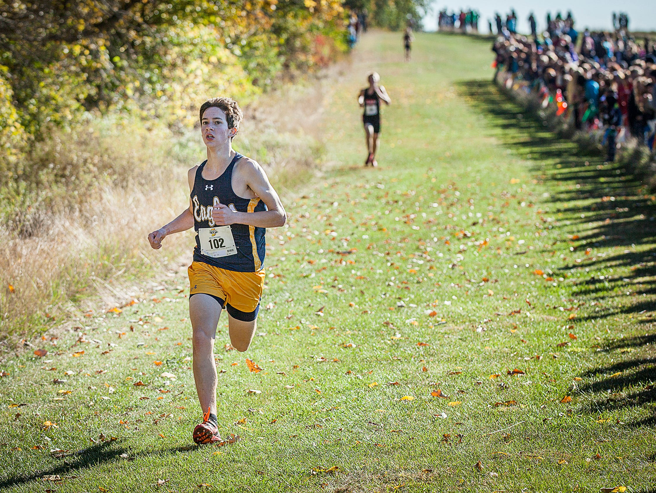 Cade Orchard finished first for Delta during the cross country sectional at the Sportsplex in Muncie on Saturday, Oct. 10, 2015.