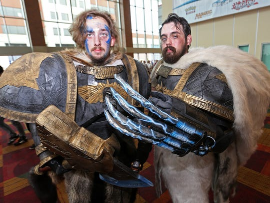 From left, Seth Knight and Mathew Turvish dress as space wolves from tabletop miniature game Warhammer 40K, during Gen Con at the Indiana Convention Center, Indianapolis, Saturday, August 6, 2016. Each costume cost around 300 dollars to make, give or take some custom accessories.