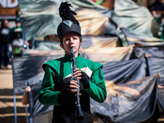 Northeastern High School competes during Band Day at