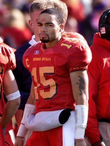 Iowa State quarterback Seneca Wallace stands on the sideline during a game against Missouri in Ames.