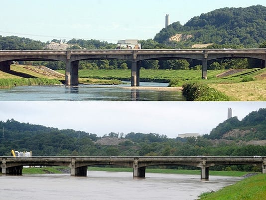 The Route 30 bridge over Codorus Creek is seen in July, above, and Thursday, September 8, 2011, below.