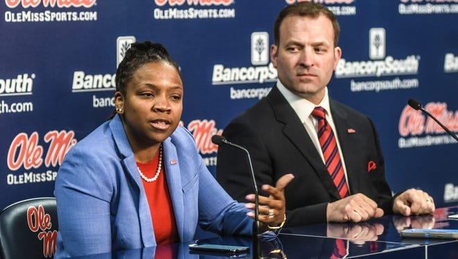Yolett McPhee-McCuin, left, and Ross Bjork, right, addressed the media as McPhee-McCuin was officially introduced as Ole Miss' coach Friday.