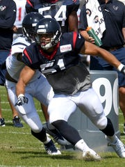 Dylan Cole during a drill during Houston Texans training