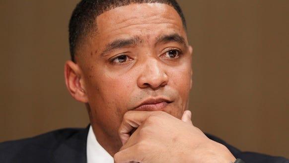 Rep. Cedric Richmond, D-La., listens to a question