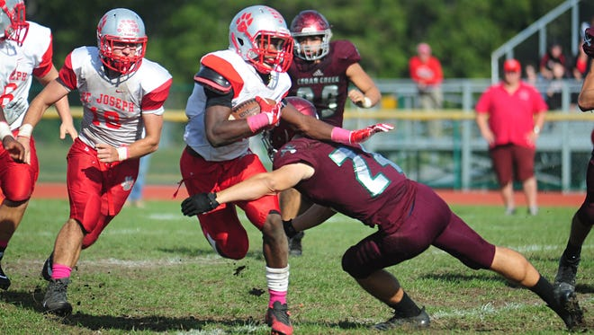 St. Joseph won Saturday's conference game against Cedar Creek by a score of 33-0.