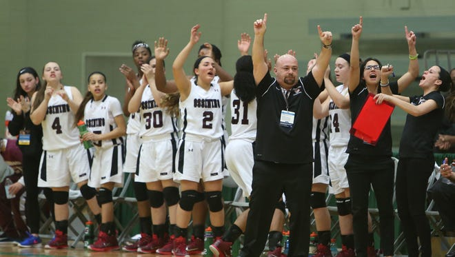 Ossining defeated Bethlehem 70-54 to win the girls state basketball championship semifinal at Hudson Valley Community College in Troy March 20, 2015.