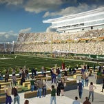 An artist's rendering of the proposed new on-campus stadium at Colorado State University. Details have been released from the intergovernmental agreement between CSU and the city of Fort Collins on impact mitigation.