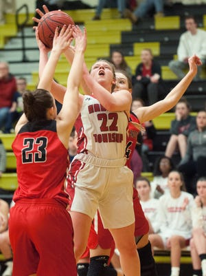 Haddon Township's Grace Marshall takes a shot during the 3rd quarter of the Group I girl's basketball state semi-final game between Haddon Township and Bound Brook played at Deptford High School on Friday.