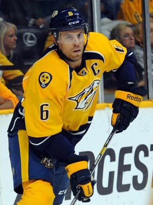 Predators defenseman Shea Weber works during the second period against the Lightning.