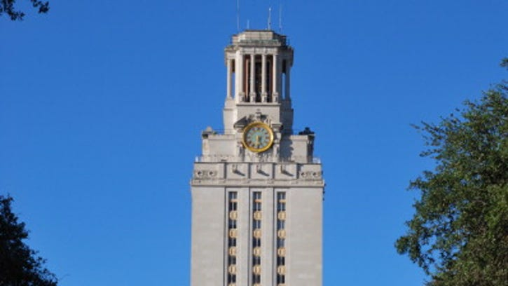 With AFP Story by Mira OBERMAN: US-vote-2012-politics-economy-Republican,FOCUS The University of Texas at Austin's clock tower is seen on October 4, 2011.  Some 40 percent of the jobs created since the recession officially ended in June 2009 were in Texas, but critics note that most of those jobs were low-wage positions because the Lone Star state isn't investing enough money into education and has too few high-skilled workers.    AFP PHOTO / Mira OBERMAN (Photo credit should read MIRA OBERMAN/AFP/Getty Images)