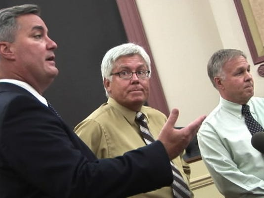 York County Commissioner Chris Reilly, left, said campaign mailings by his secretary on county time was an innocent lapse. Commissioners Steve Chronister, center, and Doug Hoke said the mailings were improper, but they have not filed a formal complaint.