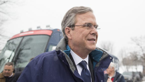 Republican presidential candidate Jeb Bush leaves his