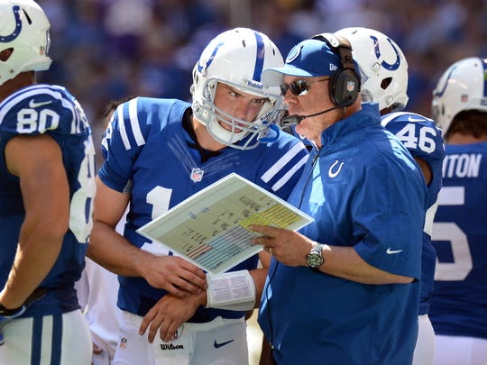 Indianapolis Colts quarterback Andrew Luck got a play  from offensive coodinator Bruce Arians,right, in the Colts game Sept. 16, 2021 at Lucas Oil