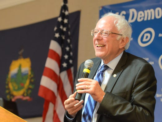 Sen. Bernie Sanders, I-Vt., speaks to the Democratic