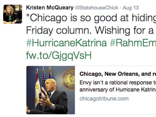 chicago tribune column s katrina metaphor angers everyone