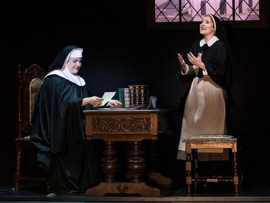 Lauren Kidwell (left) as the Mother Abbess and Jill-Christine