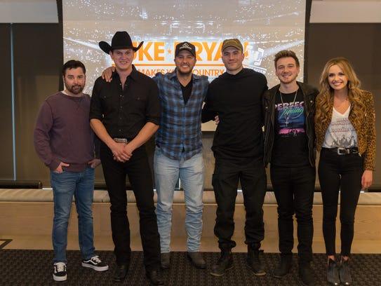 From left are DJ Rock, Jon Pardi, Luke Bryan, Sam Hunt,