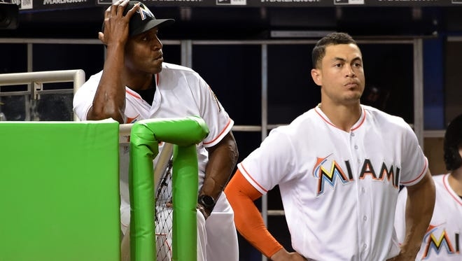 Giancarlo Stanton's exit means hitting coach Barry Bonds may need a new star pupil in Miami.