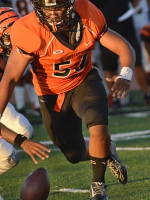 Ventura College's Mark Zavala gets ready to recover and fumble, then run for a touchdown, during Saturday's game against Riverside.