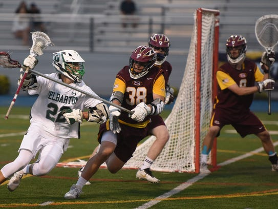 Delbarton senior attackman Tommy Schelling carries the ball during the NJSIAA Tournament of Champions final.