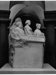 Marble statue of three suffragists by Adelaide Johnson in the Capitol crypt, Washington, D.C., Feb. 12, 1965.