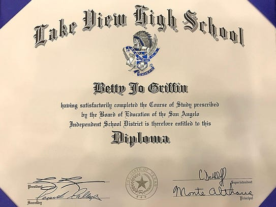 Honorary high school diploma for San Angelo resident