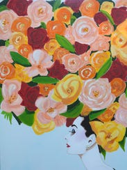 """Cascading Roses Audrey"" by artist Ashley Longshore."