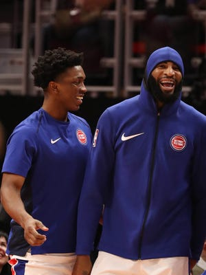 Pistons center Andre Drummond, right, and forward Stanley Johnson smile Wednesday during the 131-107 win over the Suns.