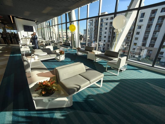 The lounge area of Brightline's West Palm Beach station