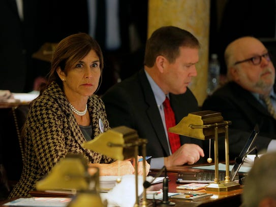 Senator Jennifer Beck participates in the Senate session