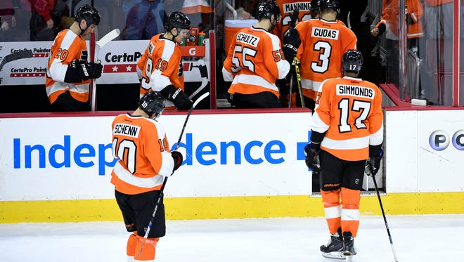 The Flyers are seven points out of a playoff spot after losing each of their last three games by one goal.