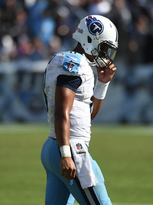 Marcus Mariota reacts after not converting on a fourth down late in the fourth quarter against the Oakland Raiders at Nissan Stadium. The Raiders won 17-10.